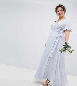 TFNC Plus Wrap Maxi Bridesmaid Dress With Tie Detail And Puff Sleeves