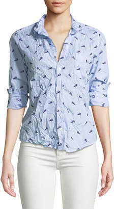Frank And Eileen Printed Long-Sleeve Button-Down Cotton Top