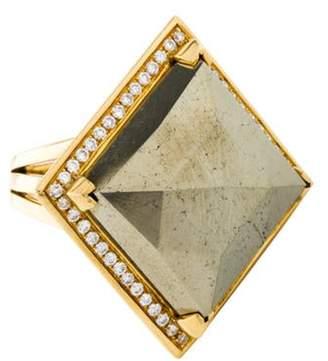 Ring 18K Pyrite & Diamond yellow 18K Pyrite & Diamond
