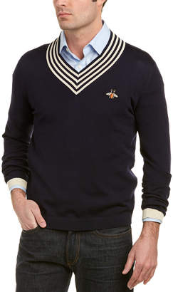 Gucci V-Neck Bee Wool Sweater