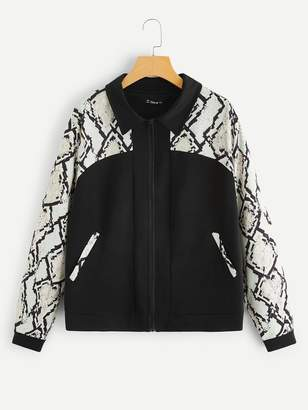 Shein Plus Zipper Up Cut-and-sew Snakeskin Jacket