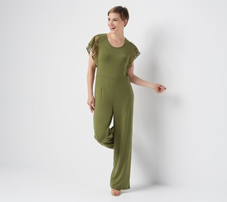 Halston H By H by Regular Jet Set Jersey Wide-Leg Jumpsuit with Lace Sleeves