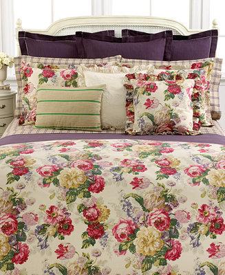 Lauren Ralph Lauren CLOSEOUT! Bedding, Surrey Garden Tattersall Full Flat Sheet