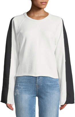 7 For All Mankind Flare-Sleeve Crop French Terry Sweatshirt