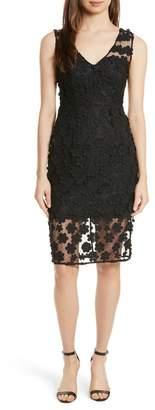 Milly Mari Floral Applique Sheath Dress