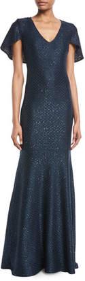 St. John Shimmer Sequined V-Neck Cape Gown