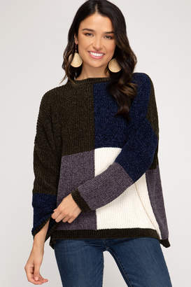 She + Sky Colorblock Chenille Sweater