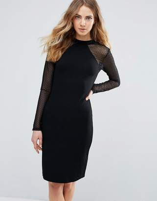 Ichi Bodycon Dress With Sheer Sleeves
