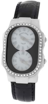 Philip Stein Teslar 2 Time Zone Steel Diamond Quartz 27mm Womens Watch