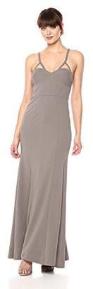 Vera Wang Women's Long Spaghetti Strap Gown With Cutout Detail