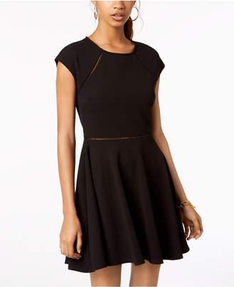B. Darlin Juniors' Laddered-Trim Fit & Flare Dress