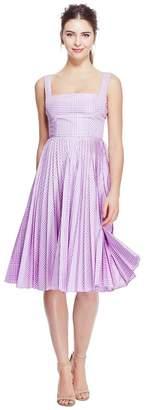 Lela Rose Coated Plaid Pleated Skirt Dress