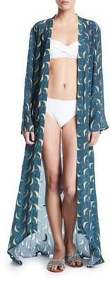 Verandah Moon/Star Open-Front Hand-Beaded Coverup Kimono