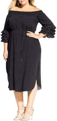 City Chic Plus Micro-Dot Off-the-Shoulder Midi Dress