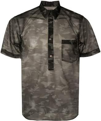 Comme des Garcons camouflage-print mesh shirt