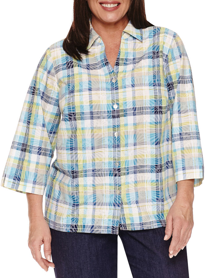 Alfred Dunner Alfred Dunner Long Sleeve Button-Front Shirt-Plus