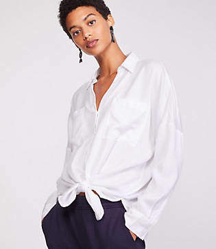 Lou & Grey Tie Front Shirt