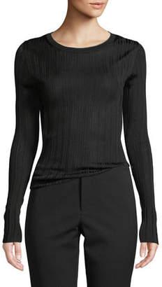 Vince Ribbed Viscose Long-Sleeve Crewneck Sweater Top