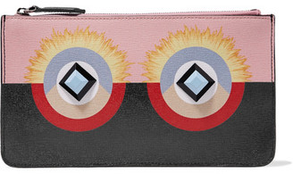 Fendi - Embellished Printed Textured-leather Wallet - Black $350 thestylecure.com