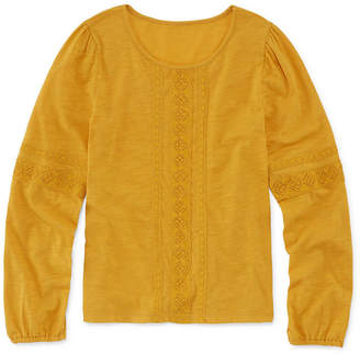 Arizona Long Sleeve Lace Trim Top - Girls' 4-16 & Plus