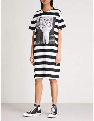 Mini Cream Striped cotton-jersey dress