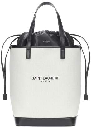Saint Laurent Teddy canvas and leather bucket bag