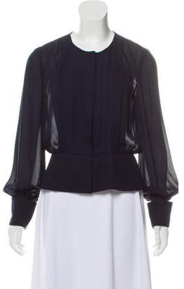 Oscar de la Renta Silk Long Sleeve Top