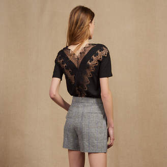 Sandro Short-sleeved lace top