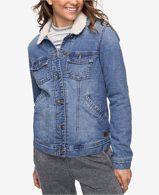 Roxy Juniors' Cotton Faux-Fur-Trim Denim Jacket