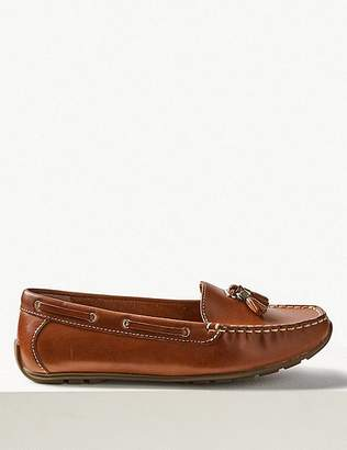 Marks and Spencer Wide Fit Leather Boat Shoes