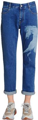 Stella McCartney Boyfriend Horse Printed Denim Jeans