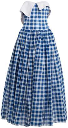 Natasha Zinko Strapless gingham cotton-seersucker dress