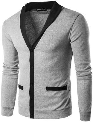 Honghu Men Long Sleeve Cardigan Casual High Neck Christmas Knit Sweater Coat XL