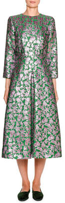 Little Miss Double J Floral Jacquard 3/4-Sleeve Midi Dress