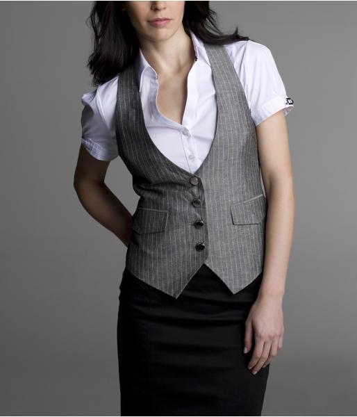 Linen 4-Button Vest - Gray Pinstripe