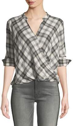 Splendid Surplice Long-Sleeve Washed-Plaid Cotton Shirt