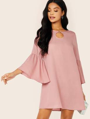 Shein Keyhole Neck Ring Detail Bell Sleeve Dress