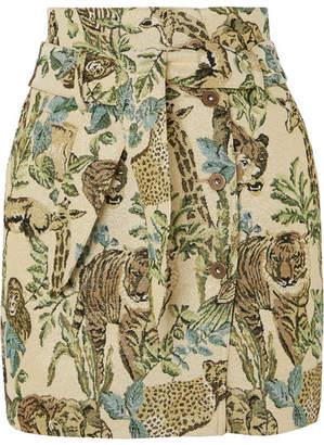 Sedu Nanushka Belted Metallic Jacquard Mini Skirt - Green