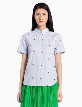 Calvin Klein flower striped cuffed short sleeve top