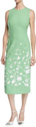 Oscar de la Renta Jewel-Neck Sleeveless Floral-Embroidered Sheath Midi Dress