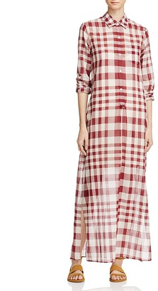 Theory Jinniefield Cotton Plaid Shirt Dress $395 thestylecure.com
