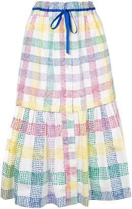 Mira Mikati check print midi skirt