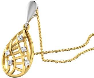 "Silvercz Jewels 0.08 Cts Sim Diamond Swirl Pendant Necklace With 18"" Chain In 14K Gold Fn"