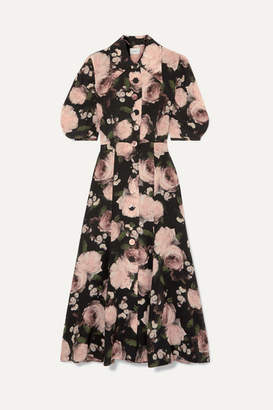Erdem Gisella Floral-print Silk Crepe De Chine Midi Dress - Black