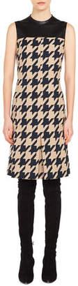 Akris Punto High-Neck Sleeveless Houndstooth-Jacquard A-Line Dress w/ Leather