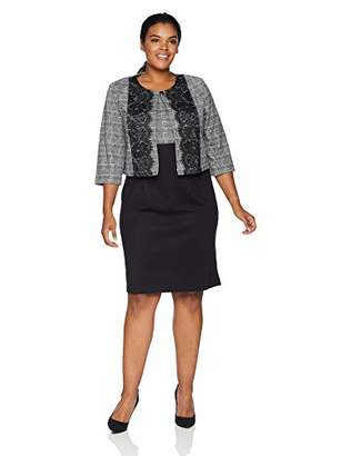 Danny & Nicole Women's Plus Size Two Piece 3/4 Sleeve Jacket and Round Neck Dress
