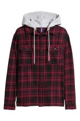 H&M Flannel Shirt with Hood - Dark red/black plaid - Men
