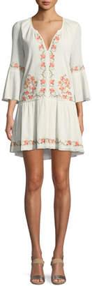 Joie Jarette Embroidered 3/4-Sleeve Mini Dress