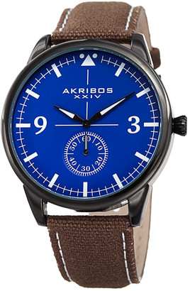 Akribos XXIV Men's Canvas Over Genuine Leather Watch