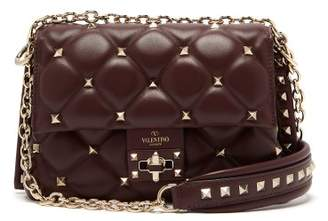 Valentino - Candystud Leather Cross Body Bag - Womens - Burgundy